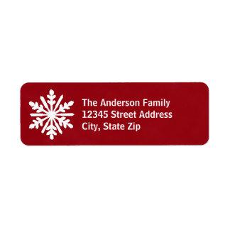 Red & White Snowflake - Address Label