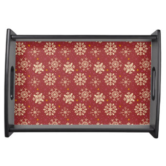 Red & White Snowflake Pattern Serving Tray