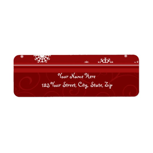 Red White Snowflakes Christmas Address Labels