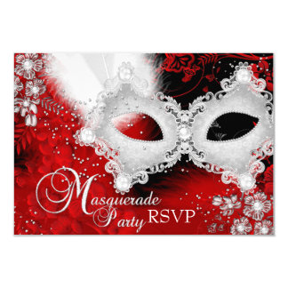 Red White Sparkle Mask Masquerade Party RSVP Card