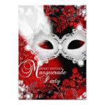 Red White sparkle Mask Masquerade Sweet 16 13 Cm X 18 Cm Invitation Card