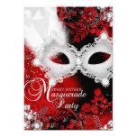 Red & White sparkle Mask Masquerade Sweet 16 13 Cm X 18 Cm Invitation Card