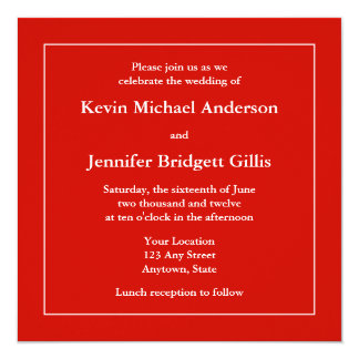 Red & White Square Invitations or Announcements Custom Announcement