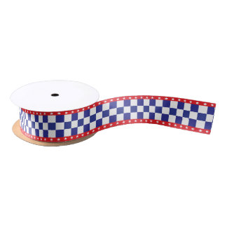 Red, White Stars and Blue Checkers Satin Ribbon