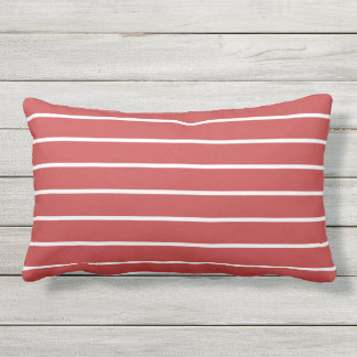 Red White Stripe Classic Nautical Design Lumbar Cushion
