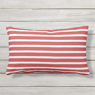Red White Stripe Classic Nautical Design Outdoor Cushion