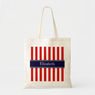 Red White Stripe Navy Blue Name Monogram Tote Bag