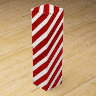 Red White Stripe pattern wine box