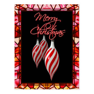 RED & WHITE STRIPE STAINED GLASS by SHARON SHARPE Postcard