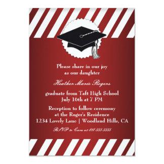 Red White Striped Graduation Inivitation Card