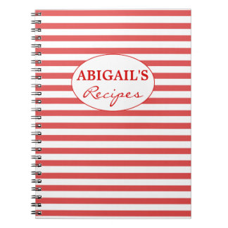 Red & White Striped Pattern Recipe Notebook