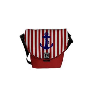 RED WHITE STRIPES BLUE ANCHOR RICKSHAW BAG COURIER BAGS