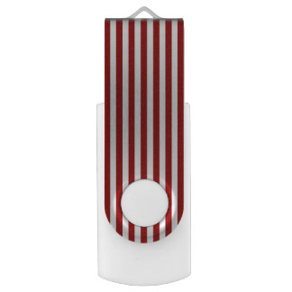 Red White Stripes Design Flash Drive Swivel USB 2.0 Flash Drive