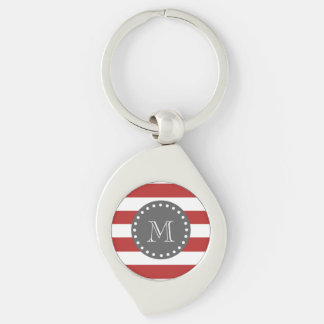 Red White Stripes Pattern, Charcoal Monogram Keychains