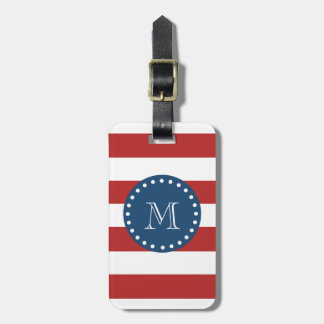 Red White Stripes Pattern, Navy Blue Monogram Luggage Tag