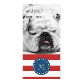 Red White Stripes Pattern, Navy Blue Monogram Personalized Photo Card