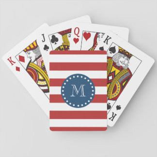 Red White Stripes Pattern, Navy Blue Monogram Playing Cards