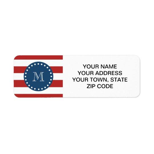 Red White Stripes Pattern, Navy Blue Monogram Return Address Label