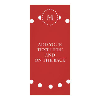 Red White Stripes Pattern, Your Monogram Full Color Rack Card