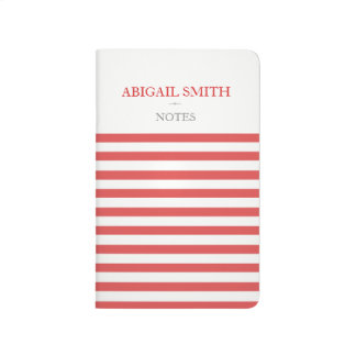 Red & White Stripes Personalized Pocket Journal