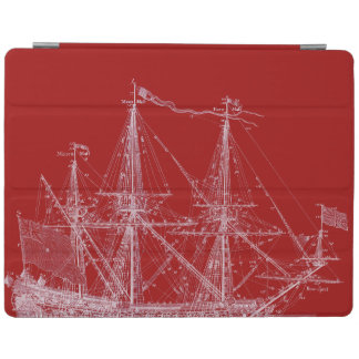 Red & White Tall Sailing Ship Print iPad Cover