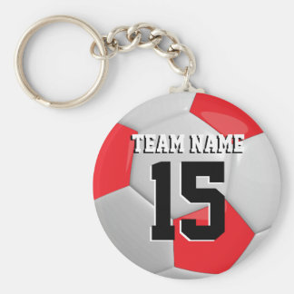 Red & White Team Soccer Ball Basic Round Button Key Ring