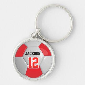 Red & White Team Soccer Ball Key Ring
