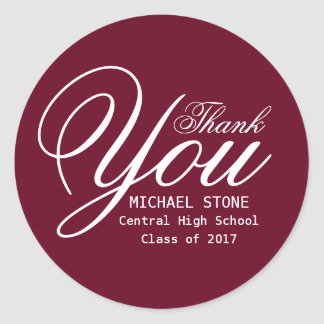 Red White Thank You Graduation Stickers Custom