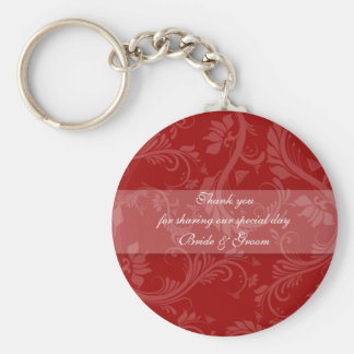 """Red white """"thank you"""" """"wedding favors"""" basic round button key ring"""
