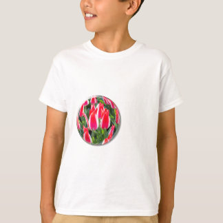 Red white tulips in glass sphere on white T-Shirt