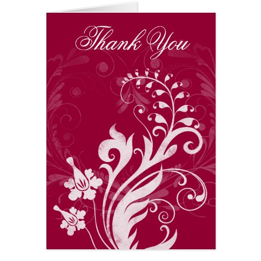 Red White Vintage Floral Wedding Thank You Card