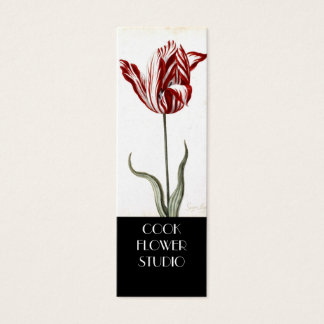 Red White Vintage Tulip Florist Product Tag Mini Business Card