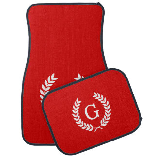 Red White Wheat Laurel Wreath Initial Monogram Floor Mat