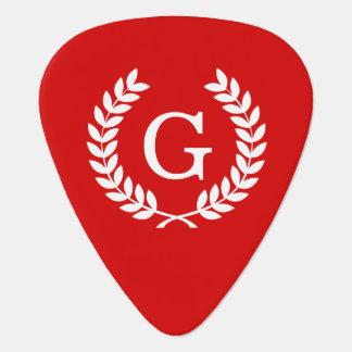 Red White Wheat Laurel Wreath Initial Monogram Guitar Pick