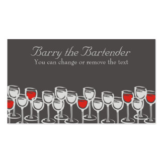 red white wine glasses sommelier catering busin... pack of standard business cards