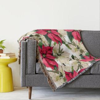 Red & white winter Poinsettia Blanket