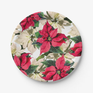 Red & White Winter Poinsettia Flower paper plates