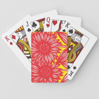 Red White Yellow Big Flowers Card Deck
