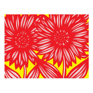 Red White Yellow Big Flowers Postcard