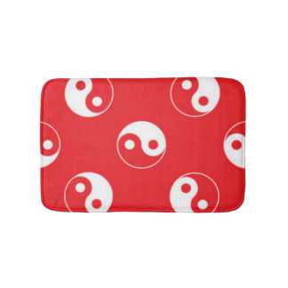 Red & White Yin Yang Pattern Design Bath Mat