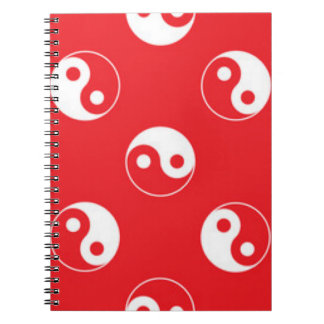 Red & White Yin Yang Pattern Design Notebook