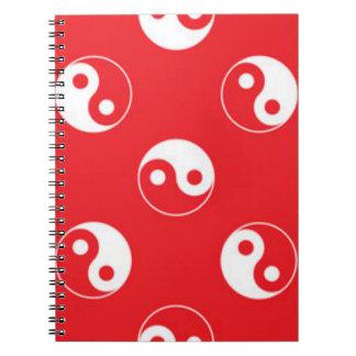 Red & White Yin Yang Pattern Design Notebook