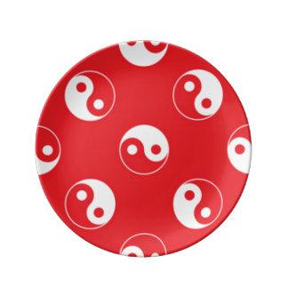 Red & White Yin Yang Pattern Design Plate