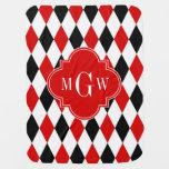 Red Wht Black Harlequin Red Quatrefoil 3 Monogram Receiving Blanket