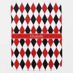 Red Wht Black Harlequin Red Ribbon Name Monogram Buggy Blankets