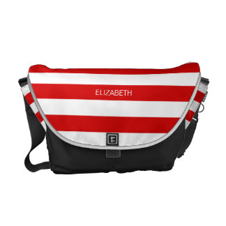 Red Wht Horizontal Preppy Stripe #3 Name Monogram Courier Bag