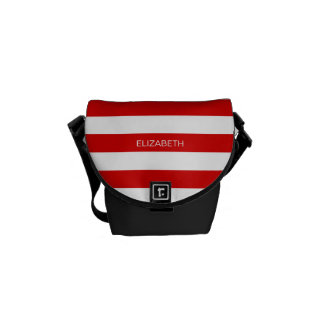 Red Wht Horizontal Preppy Stripe #3 Name Monogram Courier Bags