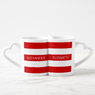 Red Wht Horizontal Preppy Stripe #3 Name Monogram Lovers Mug Sets