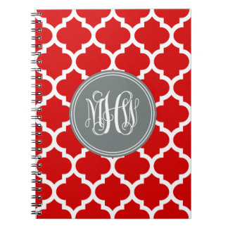 Red Wht Moroccan #5 Charcoal 3 Init Vine Monogram Note Book