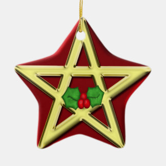Red Wicca Pentagram Yule Christmas Ornament